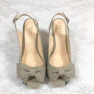 NWOB Talbots Linen Bow Espadrilles Wedge Heels 8.5